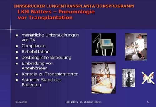 Innsbrucker LTX-Programm, LKH Natters - Pneumologie vor der Transplantation